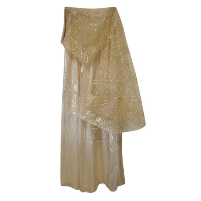 Savin London Gold Wide Leg Trousers & Gold Embroidered Sheer Top