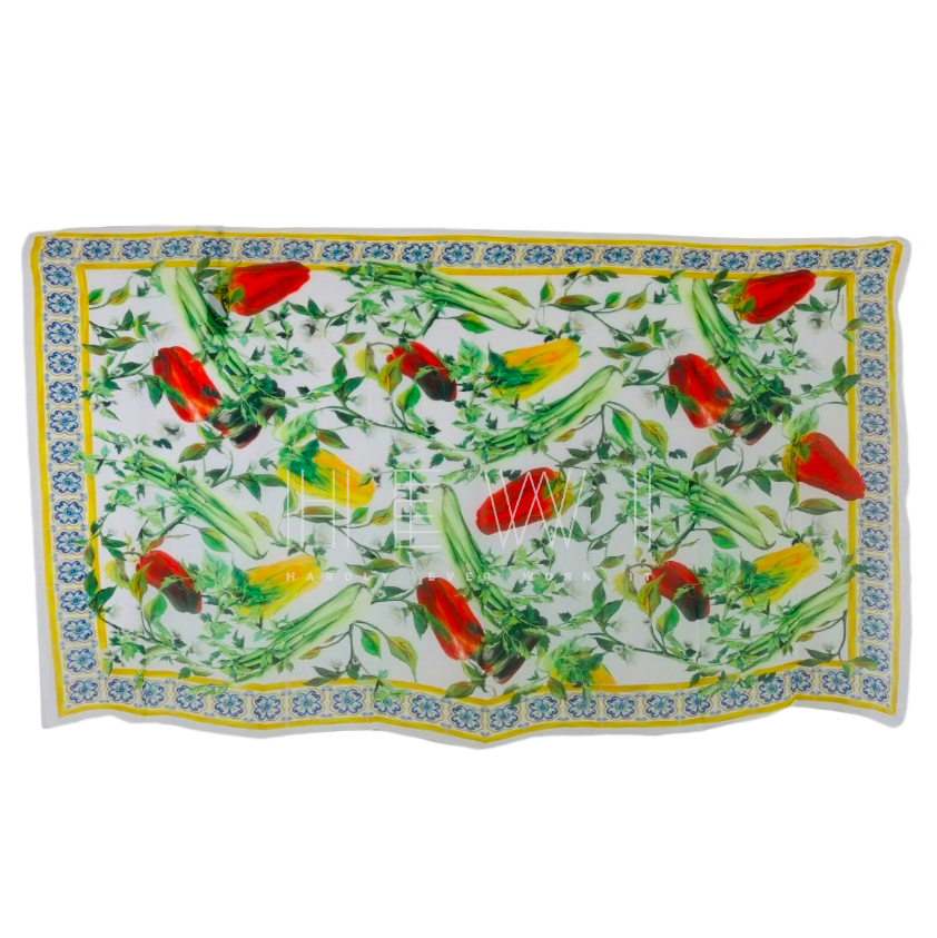 Dolce & Gabbana Silk Sicily Peppers Print Shawl