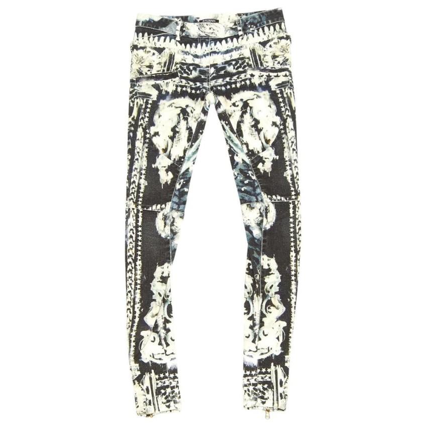 Balmain Printed Biker Jeans
