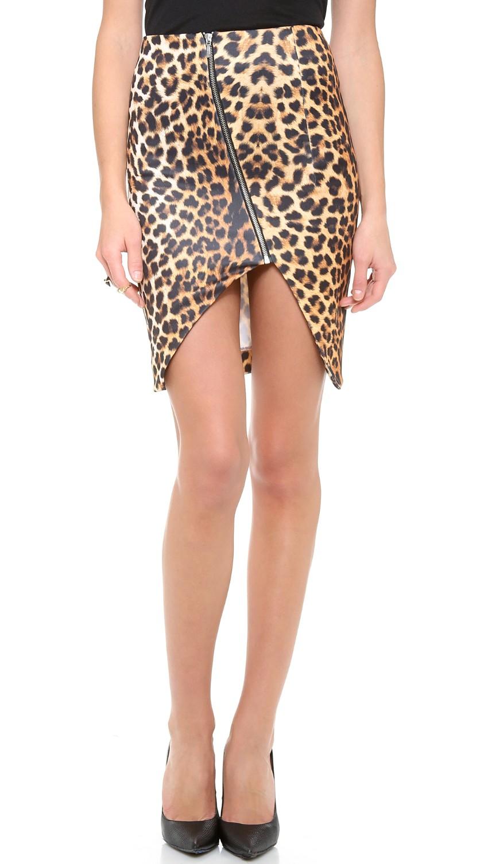 Nicholas Leopard Print Asymmetric Skirt