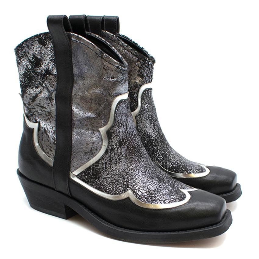 Rupert Sanderson Black & Silver Distressed Leather Cowboy Boots