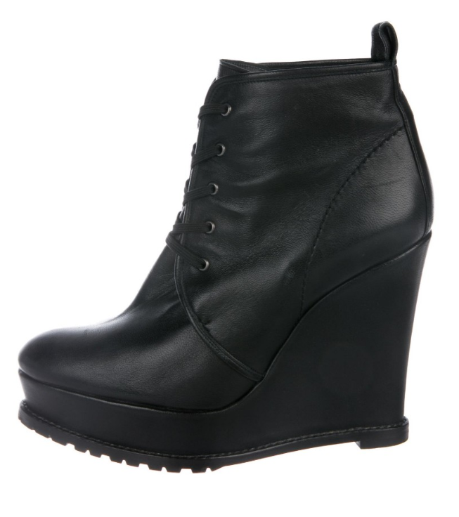 Barbara Bui black leather wedge ankle boots