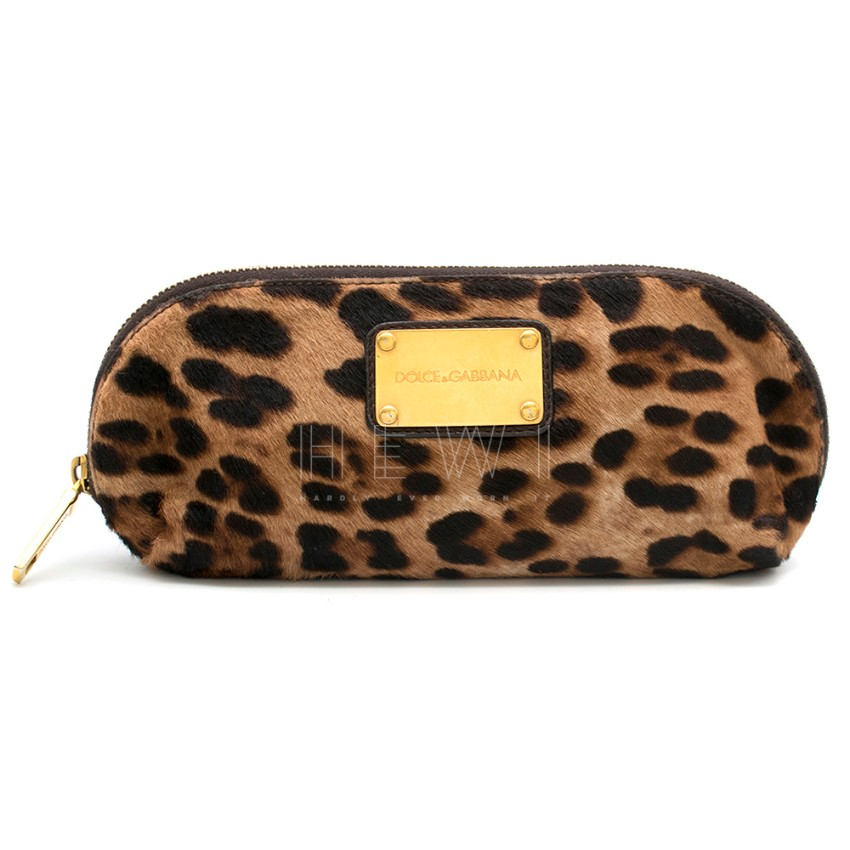 Dolce & Gabbana Leopard Print Calf-Hair Beauty Bag