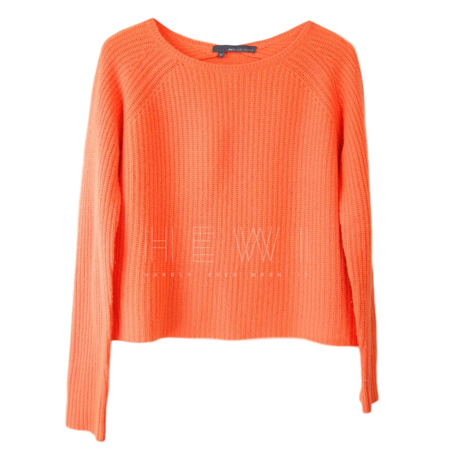 360 Cashmere neon orange boxy cashmere jumper