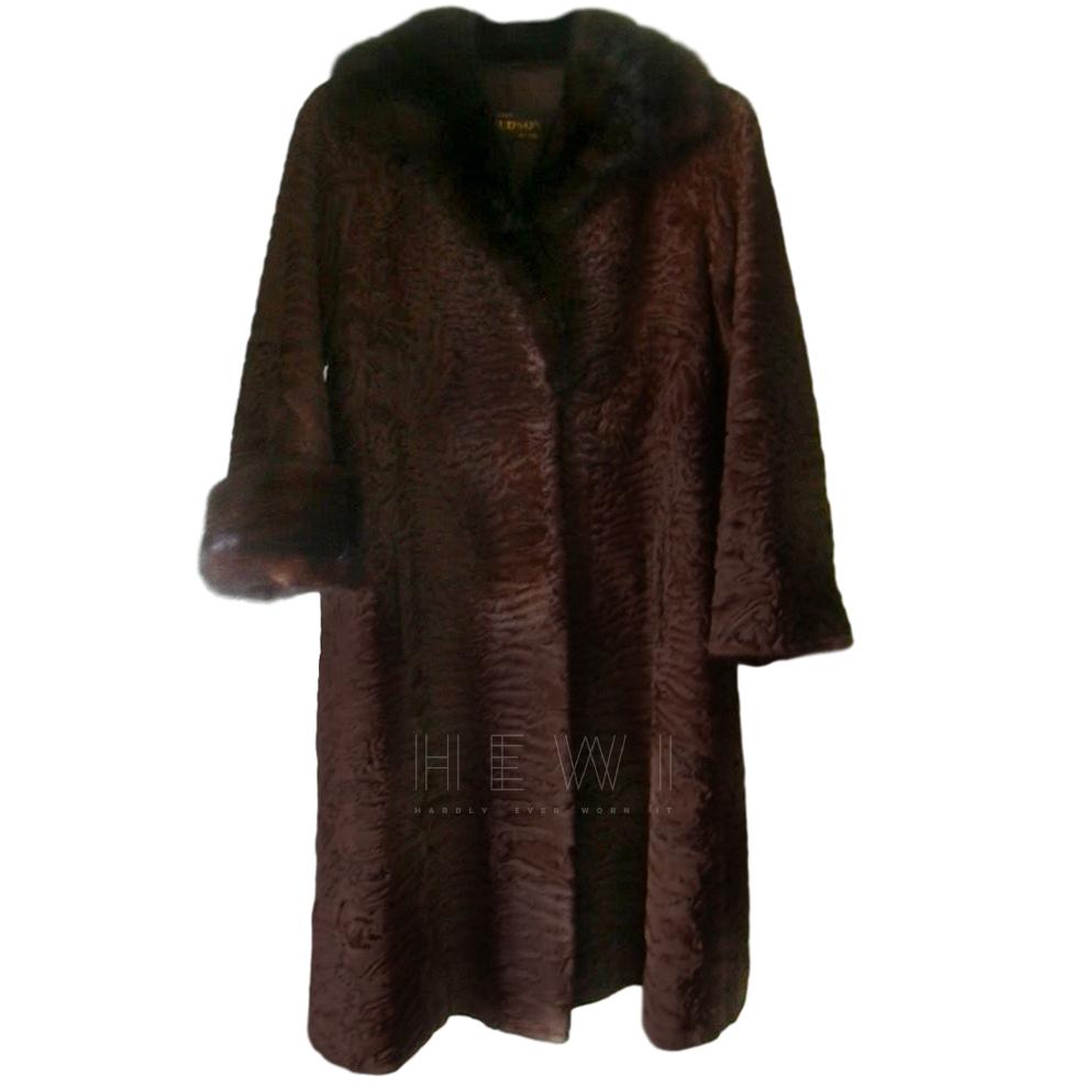 Hudson Furs Marseille Brown Astakhan Mink Trim Coat