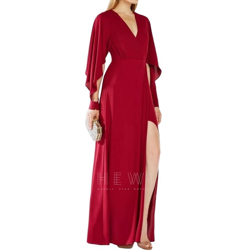 BCBG Max Azria Red V-Neck Draped Gown