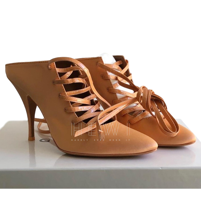 Givenchy Satin & Leather Lace-Up Sandals