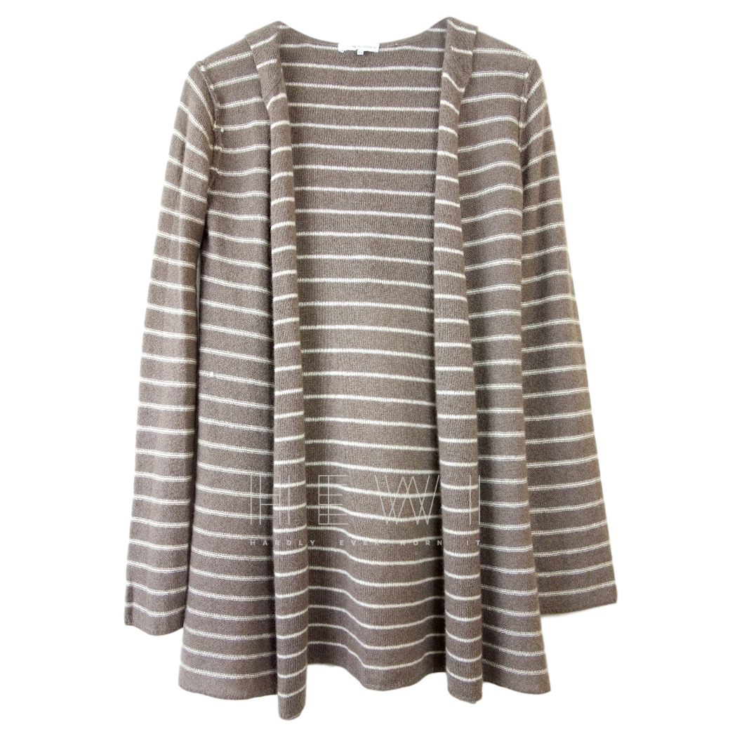 360 Cashmere striped hooded cardigan