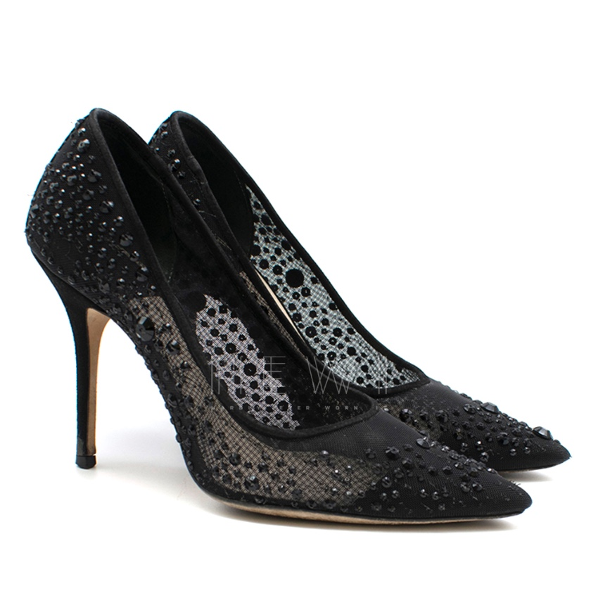 Christian Dior Black Mesh Sequin Embellished Pumps