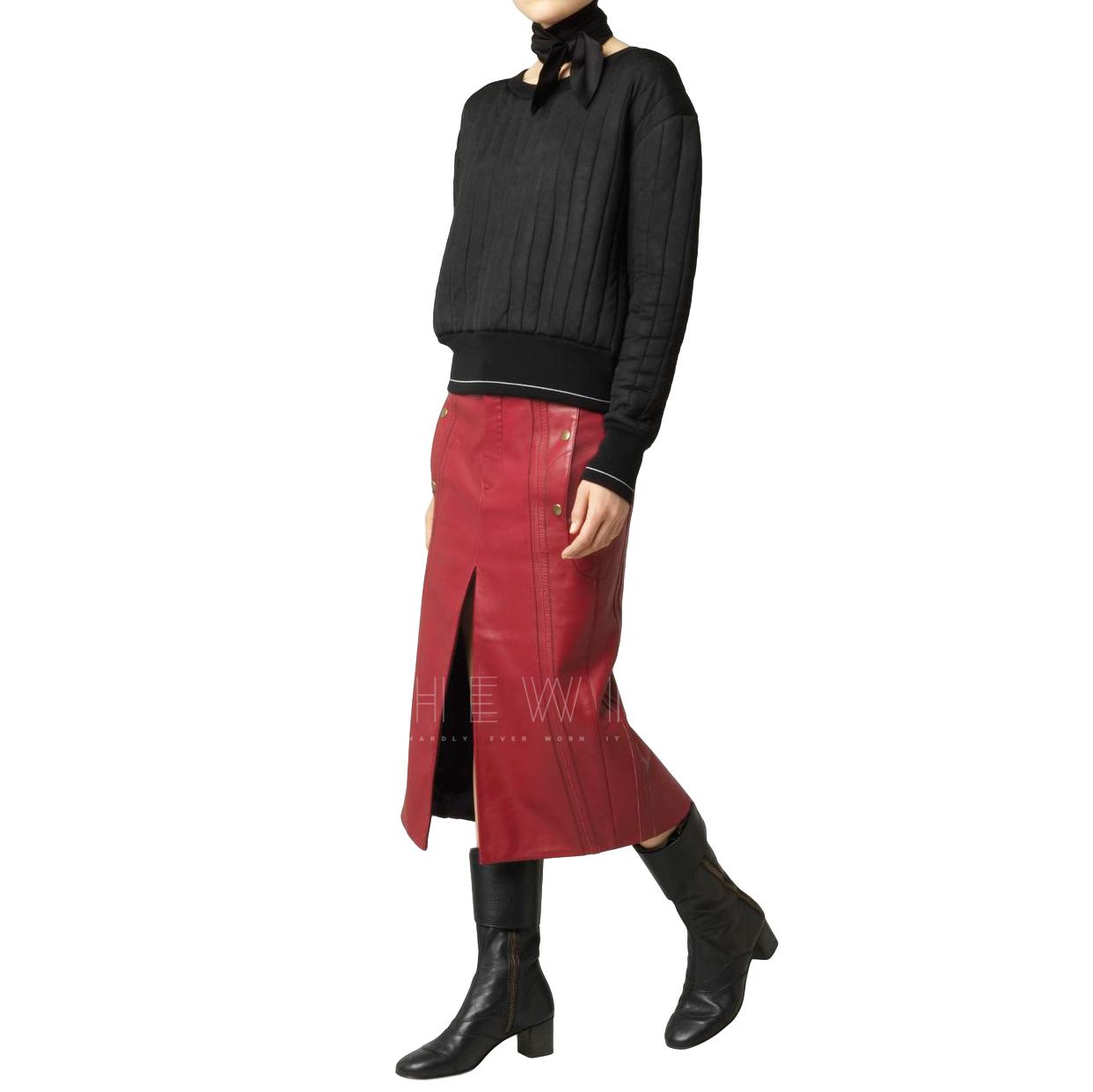 Chloe Leather & Nubuck Biker Skirt With Slit