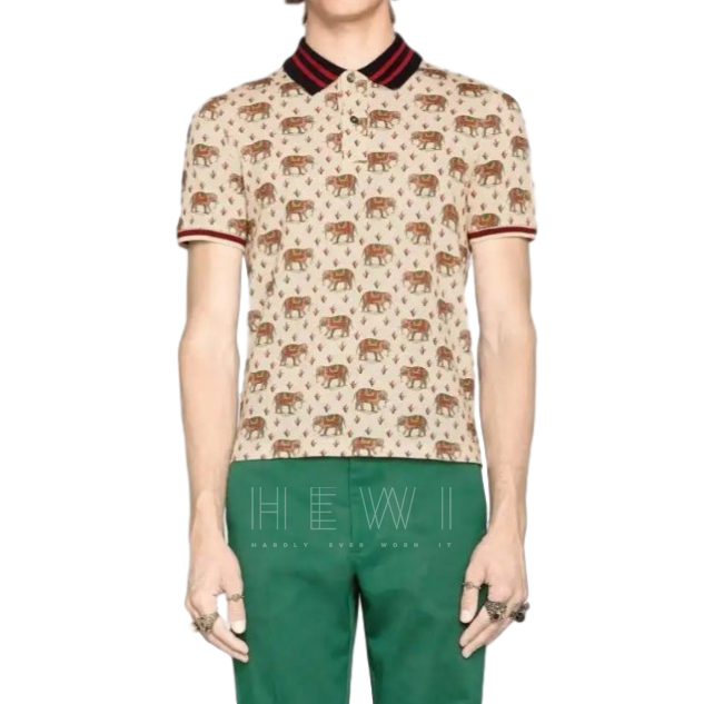 Gucci Men's Elephant Print Polo Shirt