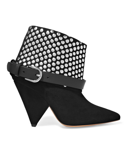 Isabel Marant Otway leather-trimmed studded suede ankle boots
