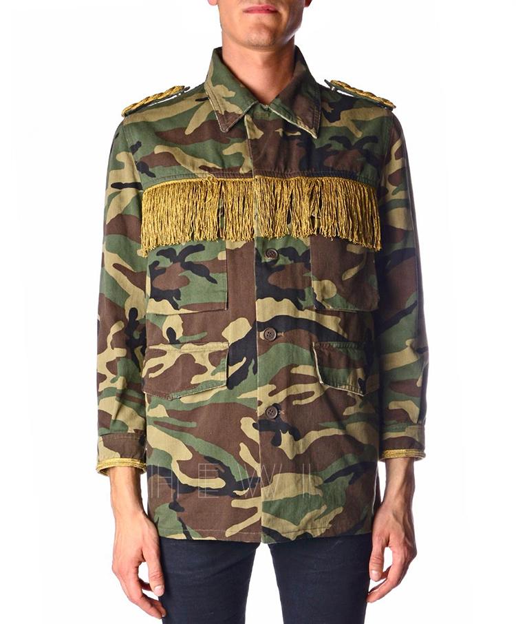 Saint Laurent Men's Green Fringed Camouflage-Print Jacket