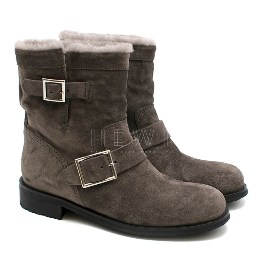 Jimmy Choo Youth Grey Ankle Fur Boots
