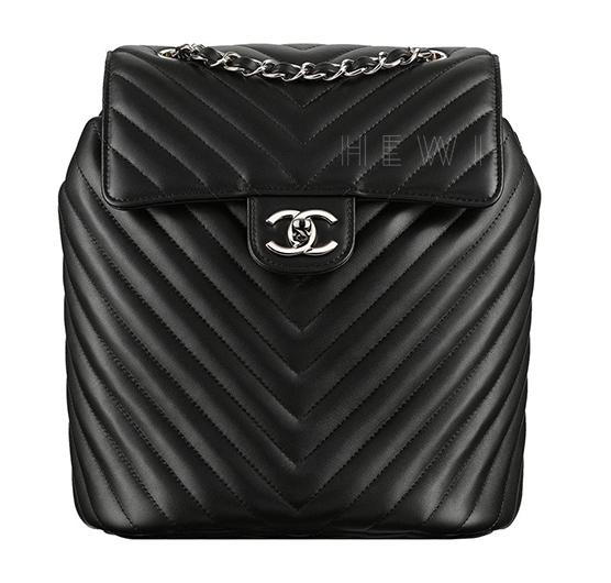 Chanel Black Chevron Leather Urban Spirit Backpack