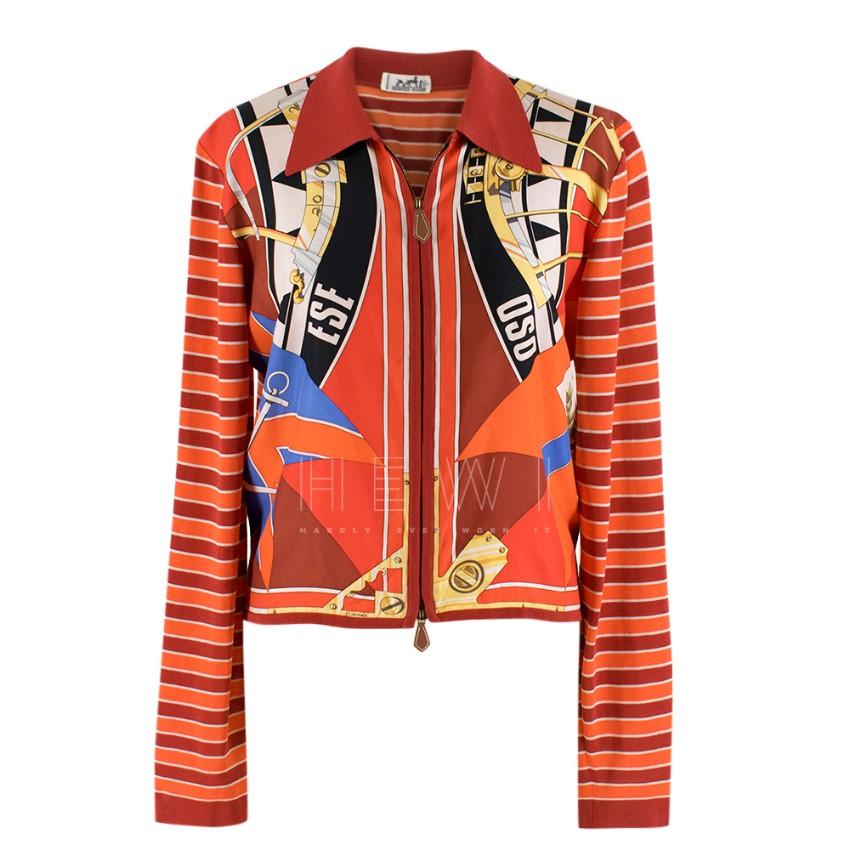 Hermes Red Printed Silk Blend Jacket