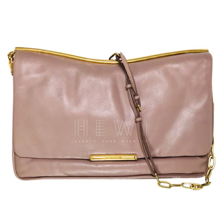 Miu Miu Taupe Clutch Bag