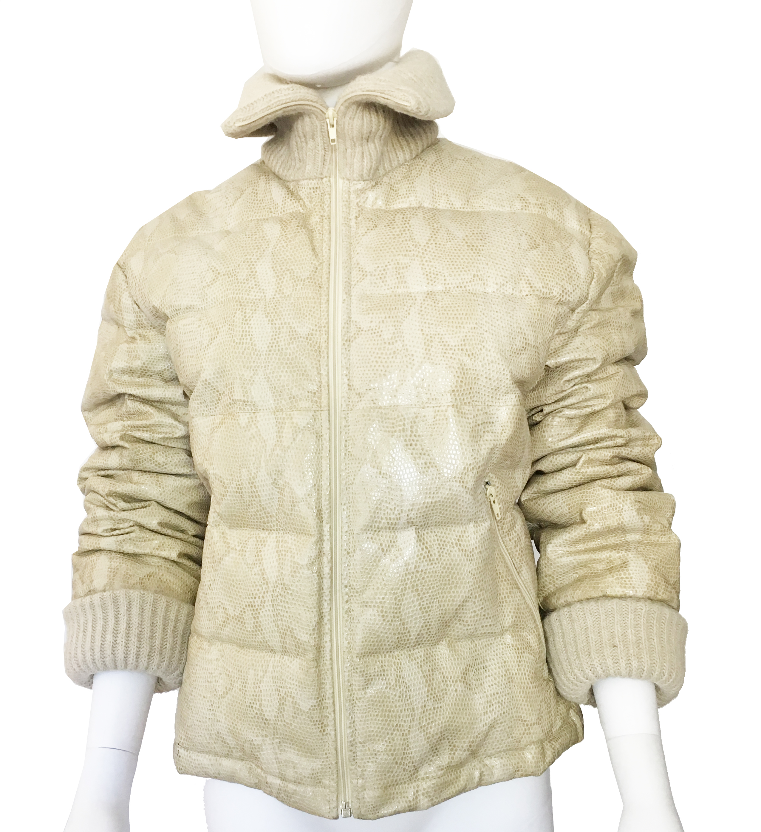 Leather Snake Print embossed Puffer Jacket by Iceberg.