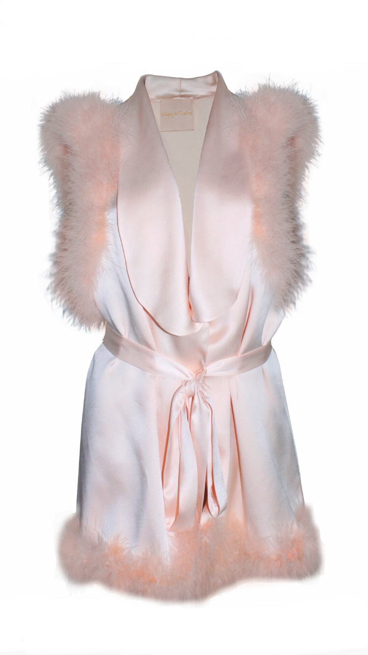 Maguy de Chadirac Blush Marabou Feather Trim Robe