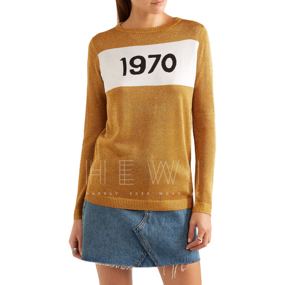Bella Freud Sparkle 1970 metallic knitted sweater