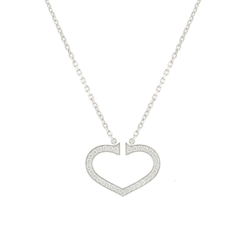 Cartier Pave Diamond Heart Necklace