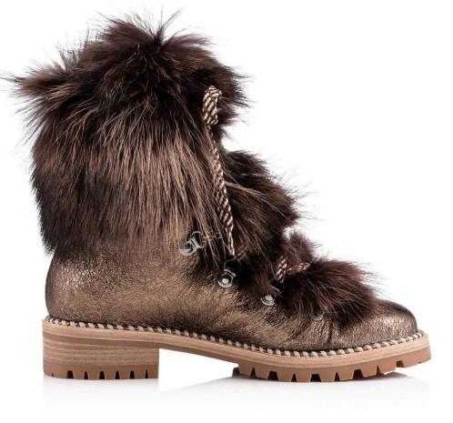 Christian Louboutin Bronze Fanny Fur Metallic Leather Combat Boots