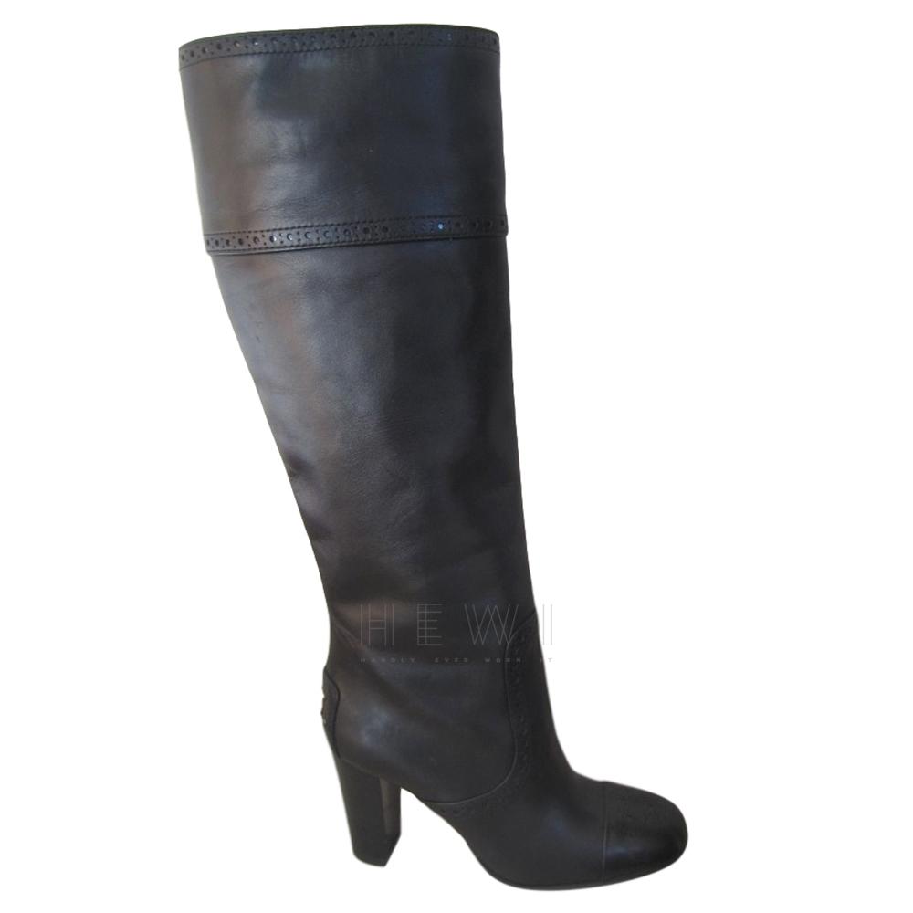 Tod's Black Tall Brogue Boots
