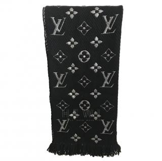 Louis Vuitton Black Wool Chunky Knit Reversible Scarf