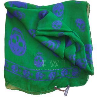 Alexander McQueen Green & Blue Silk Skull Scarf