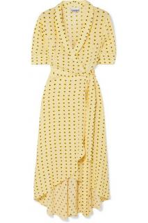 Ganni yellow floral print wrap dress