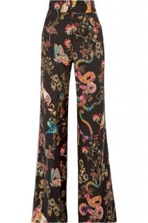 Etro paisley/floral/animal printed wide legged wool pants