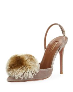 Aquazurra beige powderpuff slingbacks