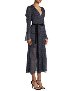 DVF lightweight printed silk velvet belted dress