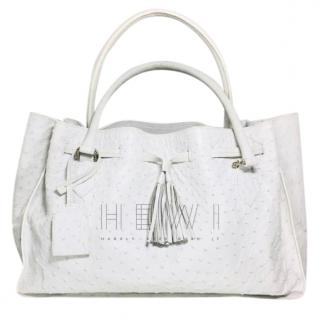 Safari White Ostrich Leather Tote Bag
