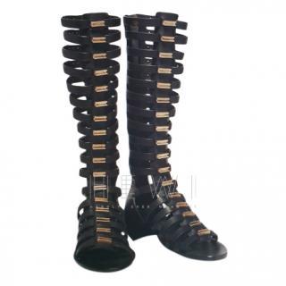 Rick Owens black leather gladiator wedge sandals