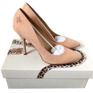 Charlotte Olympia Nude Embroidered Pumps
