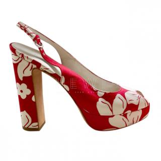 Miu Miu White & Red Floral Slingback Sandals