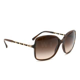 Chanel Brown Square Chain Trim Sunglasses