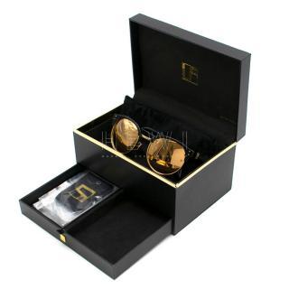 Linda Farrow Gold & Black Mirrored Sunglasses