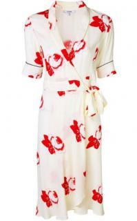 Ganni Cream Floral Print Wrap Dress