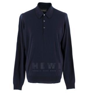 John Smedley Men's Blue Belper Polo Shirt