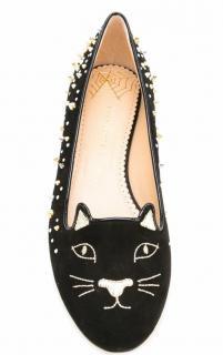 Charlotte Olympia kitty embroidered studded velvet slippers