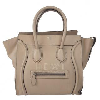 Celine Beige Mini Luggage Tote in Drummed Calfskin