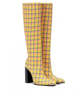 Balenciaga Yellow Plaid Block Heel Boots
