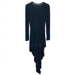 Antonio Black Asymmetric Draped Dress