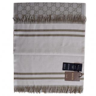 Gucci Monogram Wool Fringed Scarf
