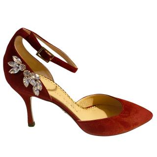 Charlotte olympia Red Crystal Embellished Sandals