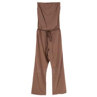 Brunello Cucinelli Brown Silk Sleeveless Jumpsuit