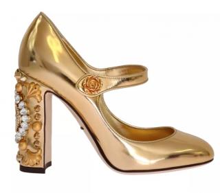 Dolce & Gabbana Gold Mirror Clock Sandals