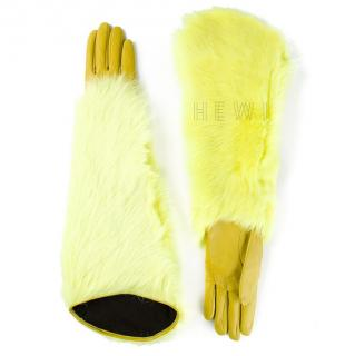 Kenzo Yellow Shearling & Leather Gloves